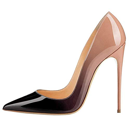 Fericzot Fashion High Heels Pumps Sexy Women's Pointed Toe Slip On Stiletto Pumps Evening Party Basic Shoes Plus Size Black-Nude-Patent 9M