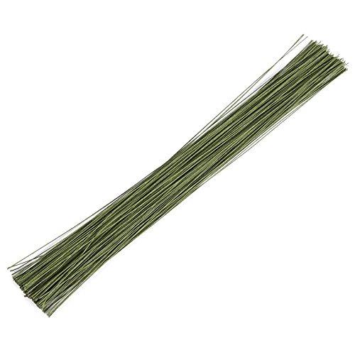 Flower Wire - 200 Piece Floral Wire, 22 Gauge Floral Stem Wire for Florist Flower Arrangement - Dark Green, 22 ga, 16 Inches in Length