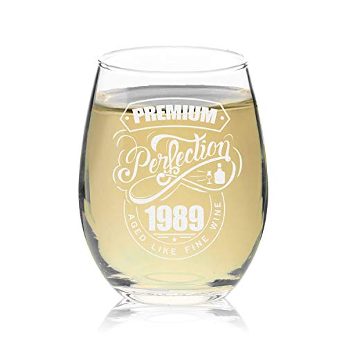 Veracco Premium Perfection 1989 Aged Like Fine Wine Stemless Wine Glass 30th Birthday Gift For Him Her Dirty Thirty (1989, Stemless Glass)