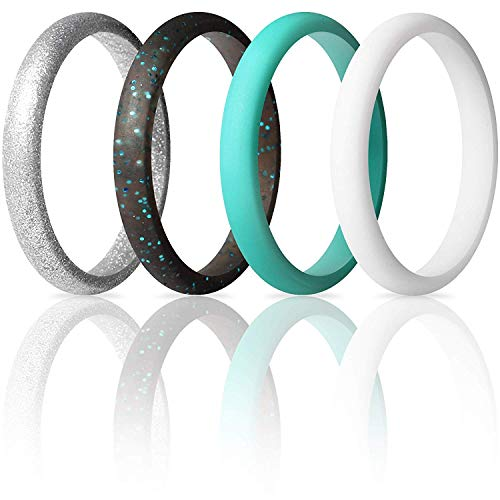 Teal Wedding Rings (ThunderFit Women's Thin and Stackable Silicone Rings Wedding Bands - 4 Pack (White, Silver, Black Teal Glitter, Teal, 7.5-8)