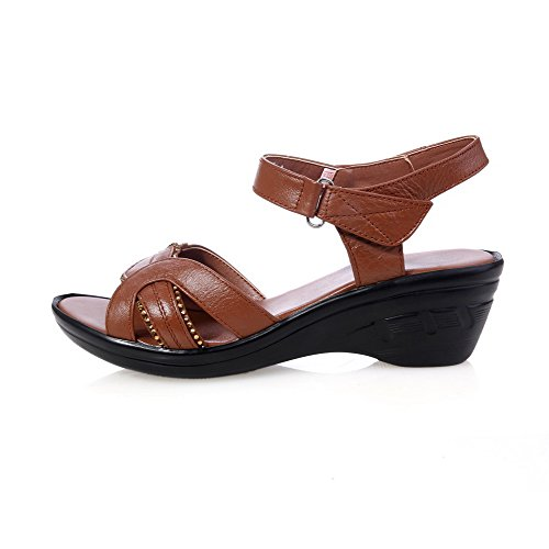 AllhqFashion Womens Solid Cow Leather Kitten-Heels Open Toe Hook-and-loop Sandals Brown RweV7D7