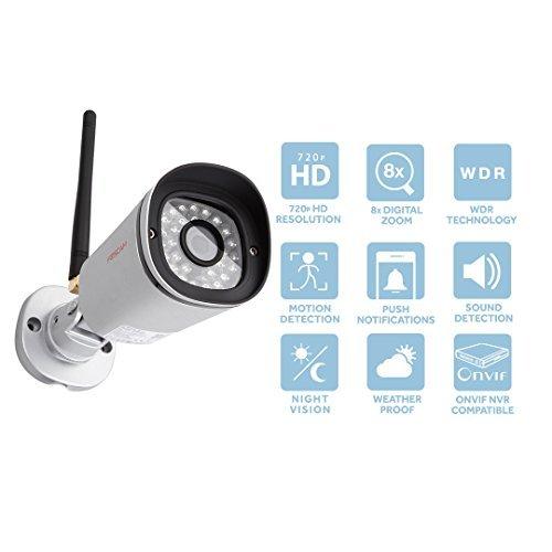 Foscam Outdoor Security Bullet Camera, FI9800PR 720P HD Wifi Survelliance IP Camera, 8x Digital Zoom, Weatherproof IP66, Night Vision, Optional Cloud Service Available