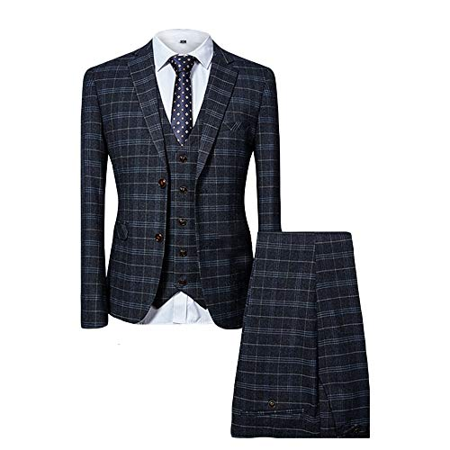 MAGE MALE Men's Plaid 3 Piece Suit Elegant Two Buckle Slim Single Breasted Blazer Vest Pants Set (L, -
