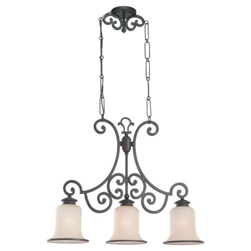 Acadia 3 Light Chandelier - Sea Gull Lighting 66145-814 3-Light Acadia Billiard Chandelier, Champagne Seeded Glass Shades and Misted Bronze