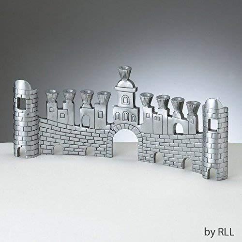 Walls of Jerusalem Aluminum Chanukah Menorah -