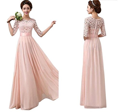 Evening Party Dress Womens Lace Applique Coral Wedding Bridesmaid Dresses Skirts Ladies Elegant Chiffon Costume Double U-Neck Long Cocktail Gowns High-Waist Pleated Dress