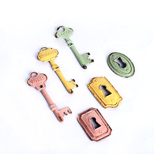 NIKKY HOME Shabby Chic Pewter Keys and Locks Shape Refrigerator Magnets Set of 6 Pink, Green, Yellow