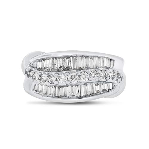 Diamond Wave Beads - 1.05 Ct. Natural Diamond Wave Design Cocktail Ring in Solid 14k White Gold