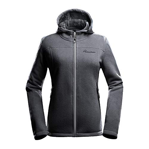 OutdoorMaster Women's Fleece Jacket - Waterproof & Stain Repellent, Ultra Soft Plush Lining & Optional Hoodie - Full-Zip (Grey Hoodie,S)