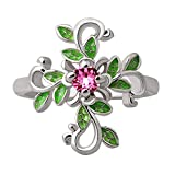Slendima Exquisite Hollow Leaf Cross Ring Band Women Fashion Rhinestone Jewelry Party Wedding Club Accessory US 10 Silver