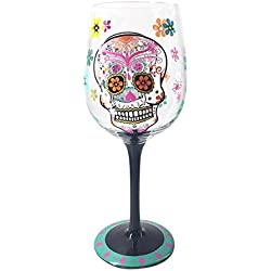Hand Painted Large Wine Glass - Kedera Unique Gifts Ideas for Her, Him, Birthday, Christmas Day, Housewarming, Best Friends (Skull)