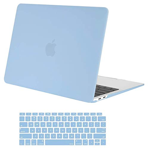 MOSISO MacBook Air 13 inch Case 2020 2019 2018 Release A1932 with Retina Display, Plastic Hard Shell Case & Keyboard Cover Skin Only Compatible with MacBook Air 13 with Touch ID, Airy Blue