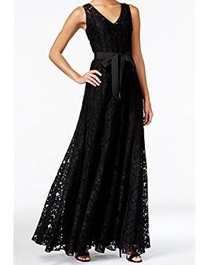 Calvin Klein Womens V-Neck Belted Ball Gown Dress Black 4