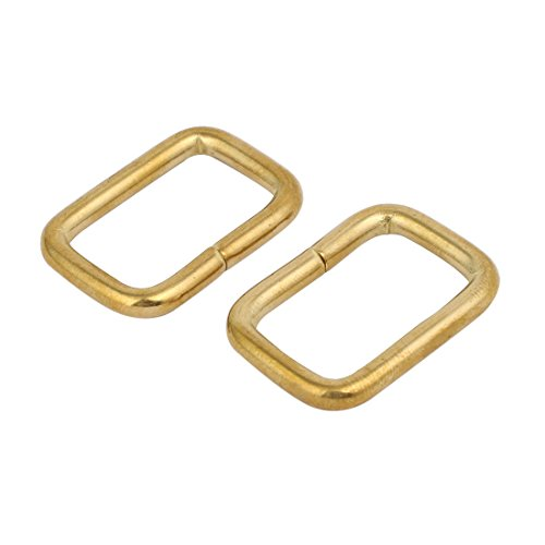 Indian Accent 1/2 inch Golden Color Rectangle Ring for Webbing Belts Buckle (Pack of 25)