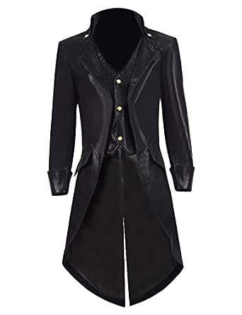 TISEA Mens PU Leather Gothic Tailcoat Jacket Steampunk VTG Victorian Coat (XL, Black A)