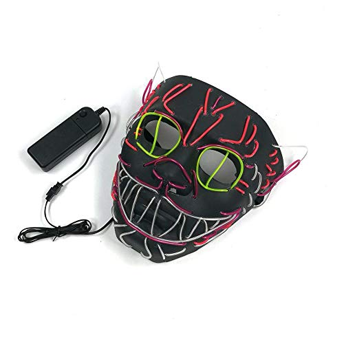 Awhao Halloween Cosplay Led Costume Mask EL Wire Cosplay Mask for Halloween Festival Party]()