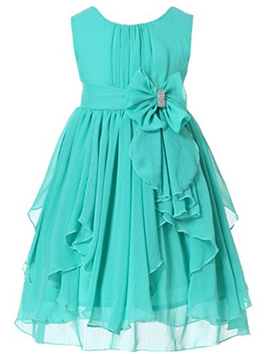 Turquoise Ruffled (Bow Dream Flower Girl Dress Bridesmaid Ruffled Chiffon Turquoise 6)