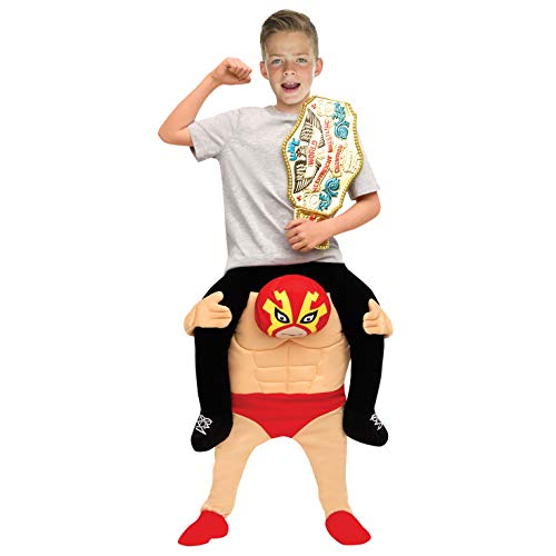 Kids Piggyback Mexican Wrestler Costume Ride On Child Illusion Carry Me Dress Up -