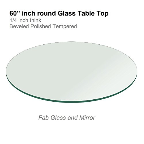 60'' Inch Round Glass Table Top 1/4'' Thick Tempered Beveled Edge by Fab Glass and Mirror by Fab Glass and Mirror