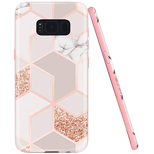 JAHOLAN Galaxy S8 Plus Case Bling Glitter Sparkle Marble Design Slim Flexible Bumper Glossy TPU Soft Rubber Silicone Cover Phone Case for Samsung Galaxy S8 Plus Rose Gold