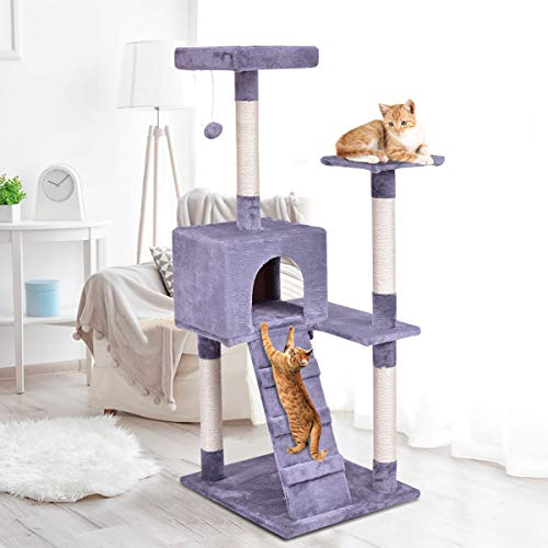 Tangkula Cat Tree Kitten Tower Condo Pet Furniture with Scratching Post Kitty Play House w/Ladder (Grey)(52