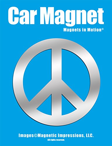 Peace Sign Car Magnet Chrome -