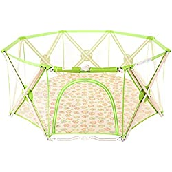 WSSF- Summer Infant Deluxe Playpens Kids Safety Fences Guardrail Indoor & Outdoor Baby Crawling Mat Toddler Learn Walking Play Playground Collapsible,19075cm (Color : Green)