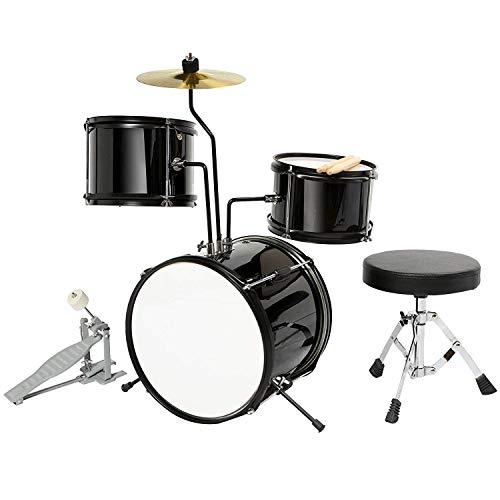 LAGRIMA 3-Piece Kids/Junior Drum Set w/Stand, Hi-Hat, Drum Stool, Drum Sticks and Pedal for Girl Boy Kids Beginner (3-8 Years Old), Black 12 Inch