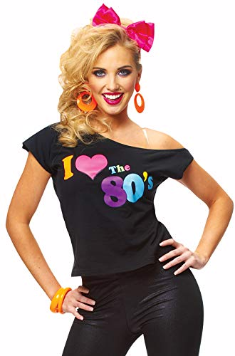 Costume Culture Women's Plus Size I Love 80's Shirt, Black, Extra Large