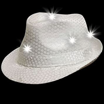 d49e0bb4ce5f8 Amazon.com  blinkee LED Flashing Fedora Hat with White Sequins by  Toys    Games