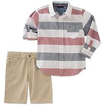 Tommy Hilfiger Baby Boys 2 Pieces Long Sleeves Shirt Shorts Set