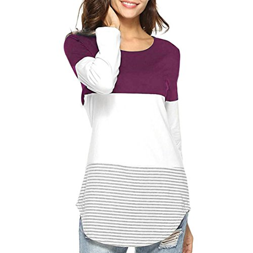 Women's Patchwork Tops Clearance Stitching Long-Sleeved Solid Color Top Daily Casual Striped Stretchy Blouse T-Shirt - Louis Vuitton Patchwork