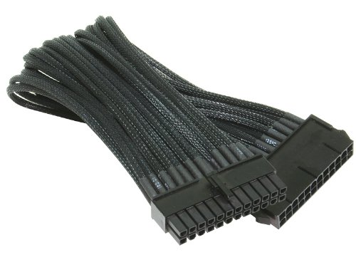 NZXT 250mm Single Sleeved 24-Pin Motherboard Extension Premium Cable, Black (CB-24P)