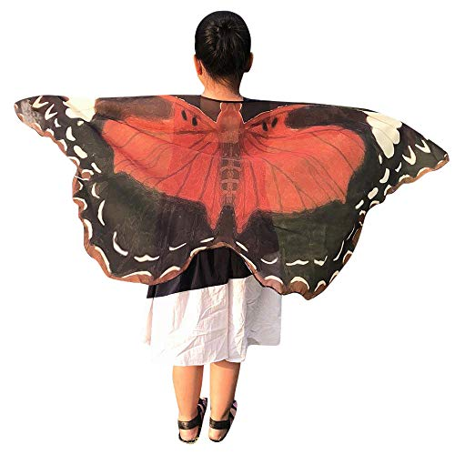 Halloween Party Soft Butterfly Wings Shawl Fairy Ladies Pixie Costume Accessory(BG,one size)