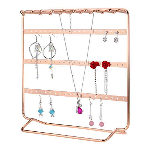 Leoriso Jewelry Stand 4 Tier Metal Earrings Organizer Beautiful Rose Gold Necklaces Holder Bracelets Display Jewelry Organizer