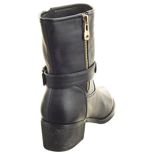 Sopily - damen Mode Schuhe Stiefeletten Reitstiefel - Kavalier Nieten - besetzt metallisch Schuhabsatz Blockabsatz high heel - Schwarz