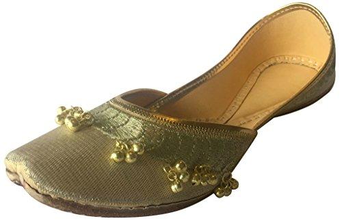 Jaipuri Flach Schuhe Ghungroo Jutti Panjabi Khussa N Schritt Creme Damen  Flip Ethnic Mojari Style Cremefarben ...