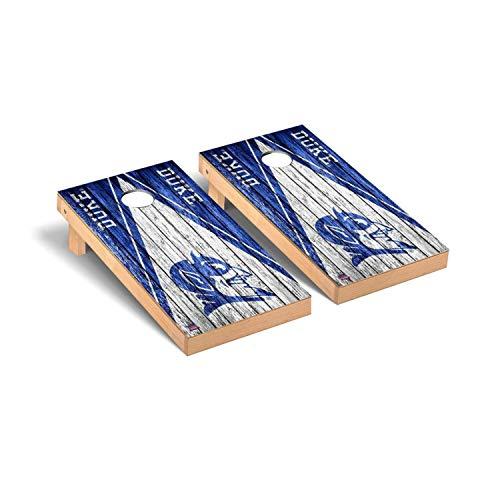 Victory Tailgate Regulation Collegiate NCAA Weathered Triangle Series Cornhole Board Set - 2 Boards, 8 Bags - Duke Blue Devils