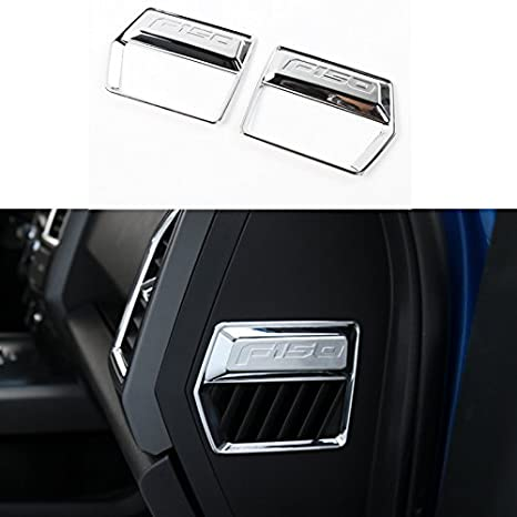 Pair For Ford F150 2015+ Air Outlet Vent Cover Decoration Sticker Decal Trim ABS (Chrome Silver) BORUIEN