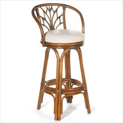 Hospitality Rattan Valencia Indoor Swivel Rattan & Wicker 30 in. Bar Stool with Cushion - Antique