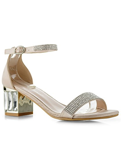 Pink Jeweled Sandal (RF ROOM OF FASHION Charming-01 Open Toe Rhinestone Ankle Strap Jeweled Block Heel Dress Sandals Pink (9))