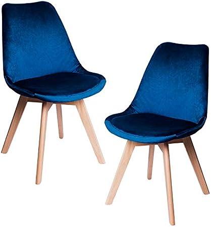 Regalos Miguel - Packs Sillas Comedor - Pack 2 Sillas Synk Terciopelo - Azul Medio - Envío Desde España: Amazon.es: Hogar
