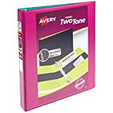"Avery Two-Tone Durable View Binder, 1"" Slant Rings, 220-Sheet Capacity, Fuchsia/Green (17196)"