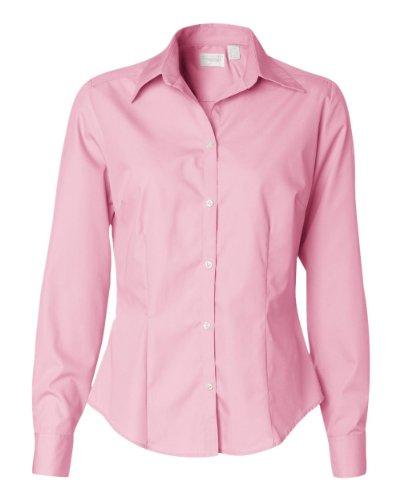 Van Heusen Ladies' Silky Poplin Shirt 13V0114 - Pink - Small - Van Heusen Pink Dress Shirts