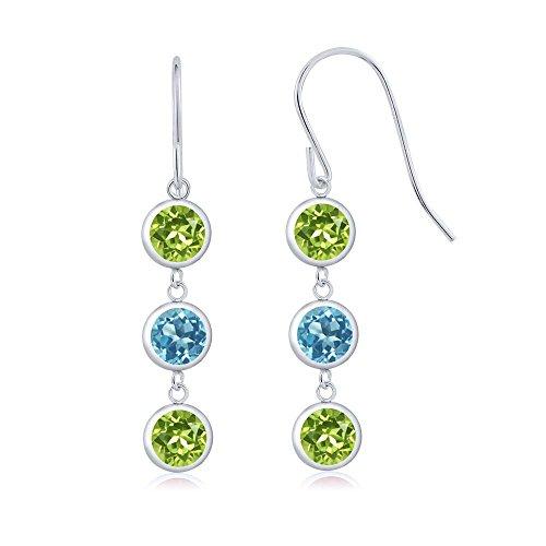 Gem Stone King 3.00 Ct Round Green Peridot Swiss Blue Topaz 925 Sterling Silver 3 Stone Dangle Earrings