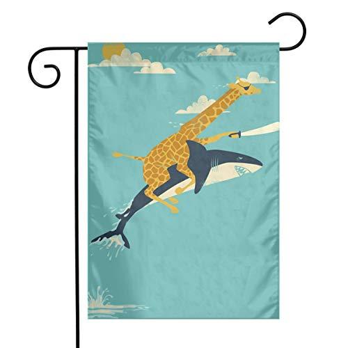 Huayuanqiqiqiqi Sharp Shirter Giraffe Shark Home Sweet Home Garden Flag Vertical Double Sided Spring Summer Yard Outdoor Decorative 12 X 18 Inch ()