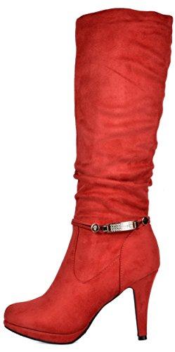 TRAUM-PAAR-Frauen Sarah Knee High Platform Heel Stiefel rot