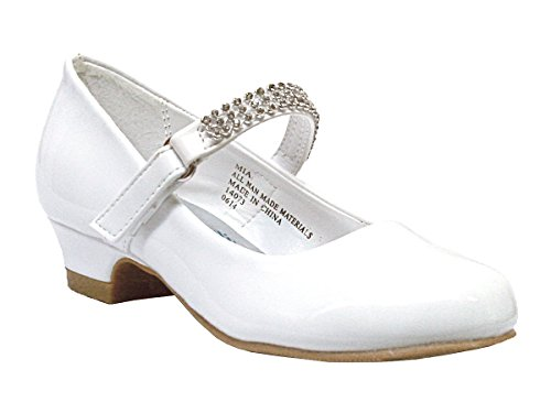 (Girls Low Heel Girls Dress Shoe with Rhinestone Strap (4, White Patent) )