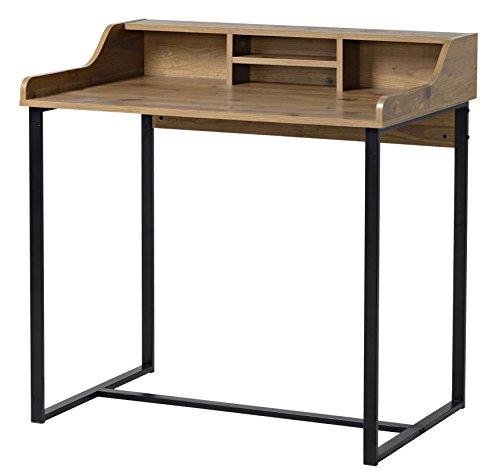 bonVIVO® Designer-Schreibtisch AUDREY, moderner Sekretär/Schminktisch im stilvollen Mix aus Holz in Sand-Braun Optik und eleganten Stahlkufen in schwarz