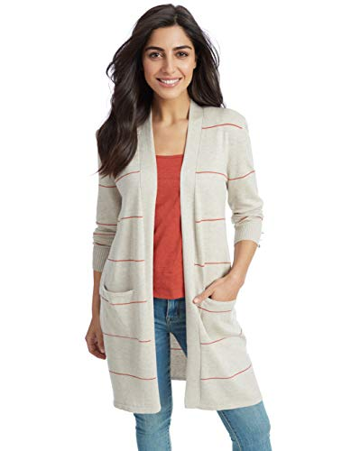 (97th + Madison Women's Striped Open Front Duster Cardigan with Pockets Oatmeal)
